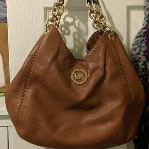 Michael Kors Fulton Chain Brown Leather Tote